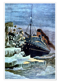 Premium poster  SS Titanic colliding with an iceberg