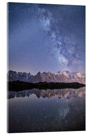 Acrylic print  Milky way at starry night with the Mont Blanc - Roberto Sysa Moiola