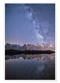 Premium poster  Milky way at starry night with the Mont Blanc - Roberto Moiola