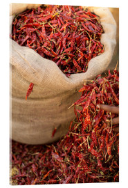 Acrylic print  Dried red chilies, Sri Lanka, Asia - John Alexander