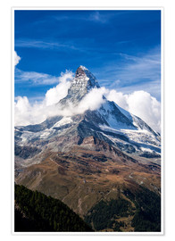 Premium poster  Matterhorn surrounded by clouds - Roberto Moiola