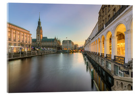 Acrylic print  Hamburg Alster Arcades and City Hall - Michael Valjak