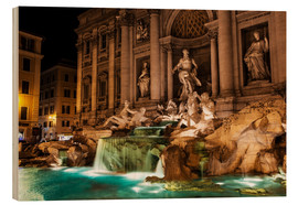Wood print  Trevi Fountain in the night - Reynold Mainse