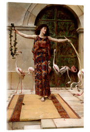 Acrylic print  The woman with the pink flamingos - John Reinhard Weguelin
