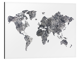 Aluminium print  World Map - Dried