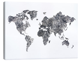 Canvas  World Map - Dried