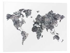 Foam board print  World Map - Dried