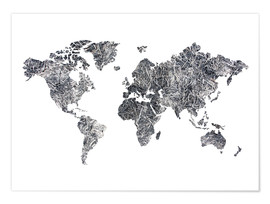 Premium poster  World Map - Dried