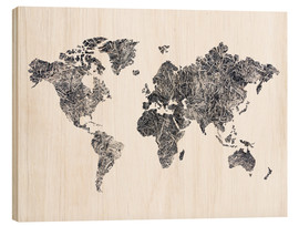 Wood print  World Map - Dried