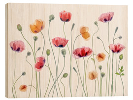 Wood print  Poppy party - Mandy Disher