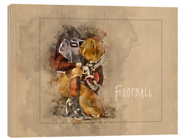 Wood print  american football - Peter Roder