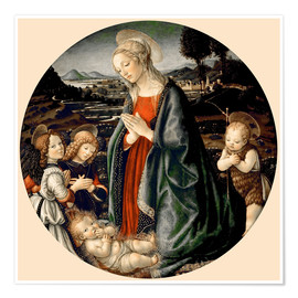 Premium poster  The Virgin Adoring the Christ Child with St. John the Baptist and Two Angels - Sandro Botticelli