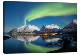 Canvas  Northern lights and stars light up snowy peaks - Roberto Moiola