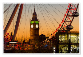 Premium poster  London Eye (Millennium Wheel) frames Big Ben at sunset - Charles Bowman