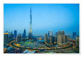 Premium poster  Burj Khalifa and Downtown Dubai at dusk - Fraser Hall