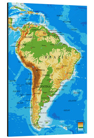 Aluminium print  Topographic Map of South America