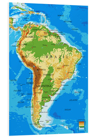 Foam board print  Topographic Map of South America