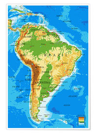 Premium poster  Topographic Map of South America