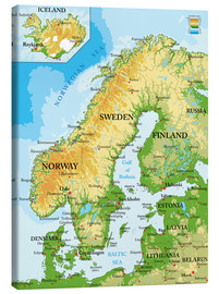 Canvas print  Scandinavia, Topographic Map