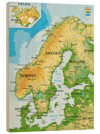 Wood print  Scandinavia, Topographic Map