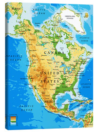 Canvas print  North America - Topographic map
