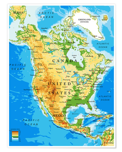 Pacific Ocean Topographic Map.North America Topographic Map Poster Posterlounge