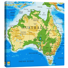 Canvas  Australia - Topographic Map