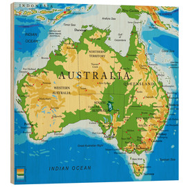 Wood print  Australia - Topographic Map