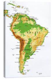 Canvas  South America - Topographic Map