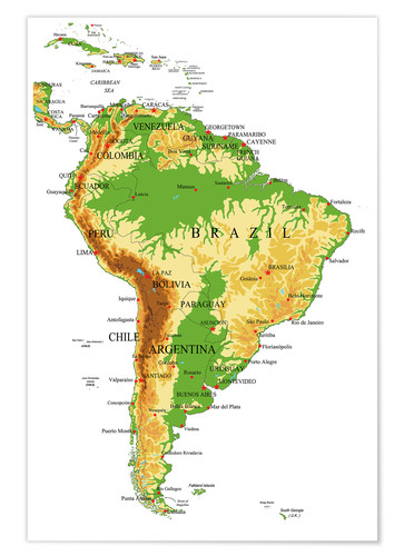 South America - Topographic Map Posters and Prints | Posterlounge.com