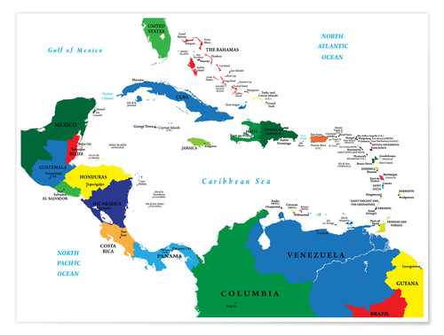 Latin America - Political Map Posters and Prints | Posterlounge.com