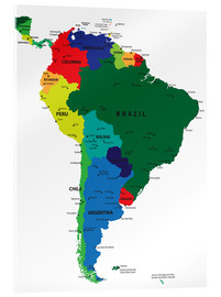 Acrylic print  South America - Political Map