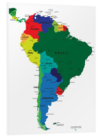 Foam board print  Map of South America