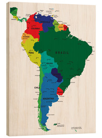 Wood print  Map of South America