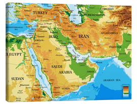 Canvas  Middle East - Topographic Map