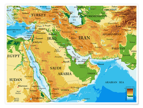 Middle East   Topographic Map Poster Posters and Prints