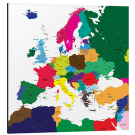 Aluminium print  Europe - Political Map