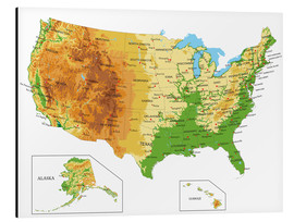 Aluminium print  Topographic Map of USA