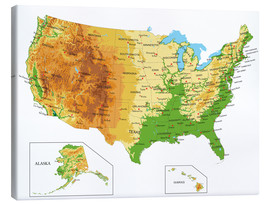 Canvas  USA - Topographic Map
