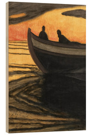 Wood print  Marine orange - Léon Spilliaert