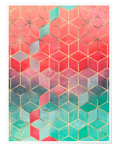 Premium poster Rose And Turquoise Cubes