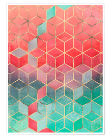 Premium poster  Rose And Turquoise Cubes - Elisabeth Fredriksson