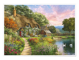 Premium poster Sunset Country Cottage
