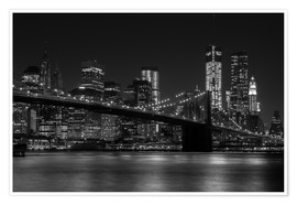 Premium poster  Brooklyn Bridge at Night - Thomas Klinder