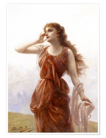Premium poster A young red-clad woman with wistful look