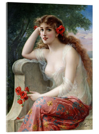 Acrylic print  Young Beauty with Poppies - Emile Vernon