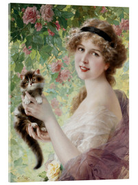 Acrylic print  Young girl with a kitten - Emile Vernon