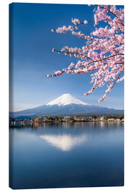 Canvas print  Mount Fuji and Lake Kawaguchiko in Japan during the cherry blossom season - Jan Christopher Becke