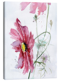 Canvas print  Cosmos flower watercolor - Verbrugge Watercolor