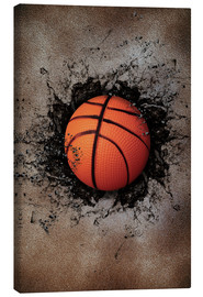 Canvas print  Stone wall and basketball